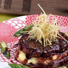 Asado de filete de ternera con salsa de soja y vino tinto