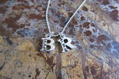 Initial Letter Necklace Sterling Silver With Birth by timbrodamore, $46.00