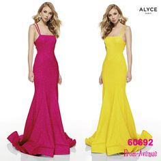 Yellow prom dress,Glittery exquisite long formal dress in style Alyce 60692 that will flatter your curves in straight neckline and strappy back - shop prom-avenue Available in Glacier Blue, Bright Yellow, Hot Pink, Midnight Prom Dresses Blue, Mermaid Prom Dresses, Homecoming Dresses, Formal Dresses, Evening Gowns, Hot Pink, Party Dress, Trumpet, Yellow