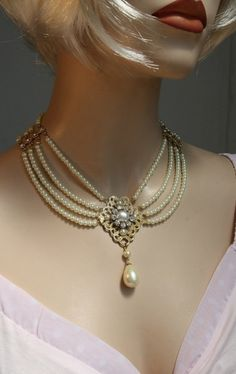Items similar to Bridal Pearl Necklace Pearls Silver Bride Choker Bride Necklace Multi Strand Pearls Rhinestone Ivory Pearls Crystal Collar Necklace Weddings on Etsy Pearl Chocker Necklace, Pearl Necklace Designs, Diamond Initial Necklace, Bride Necklace, Star Necklace, Collar Necklace, Pearl Necklace Vintage, Diy Necklace, Gemstone Jewelry