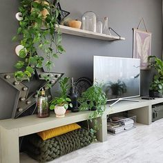 Tv cabinet and indoor plants ikea plants, indoor plants, living room cabinets, tv Living Room Plants, Ikea Living Room, Living Room Cabinets, House Plants Decor, Tv Cabinets, Plant Decor, Ikea Plants, Indoor Plants, Style Tropical
