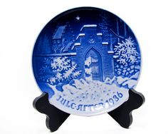 Bing Grondahl 1986 Silent Night, Holy Night Christmas Plate B&G, Kjobenhavn, Denmark Cobalt blue by WhatnotGems on Etsy