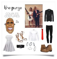 """""""The Purge Couples Costumes"""" by meohik ❤ liked on Polyvore featuring Versace, Marcelo Burlon, Red Wing, Ted Baker, Yves Saint Laurent, Steve Madden, Monsoon and MIANSAI"""
