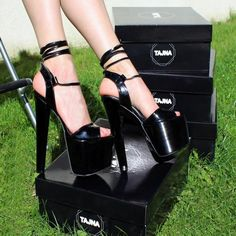 dd1b6f56968a 19 cm Black Patent Leather Lace Up High Heels Sexy High Heels