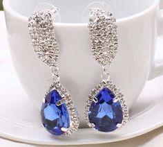 Aaishwarya Classy Blue Crystal Earrings #earrings #crystalearrings #danglers #dropearrings