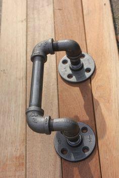 Industrial Pipe Door Handle - Urban Industrial Decor - 90degree offset -  Cast…