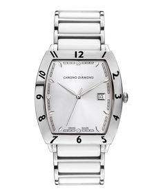 Leandro white and silver-tone watch by Chrono Diamond on secretsales.com