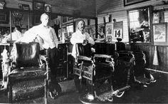A barbershop in Lacombe, Alberta, October 14, 1914. Red Deer & Area History