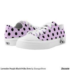 Lavender Purple Pink Black Polka Dots Printed Shoes