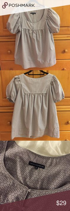 REDUCED! French Connection Sheer Lilac Top Light lilac color French Connection top with sheer flower detail. Short, puffy sleeves with elastic. French Connection Tops