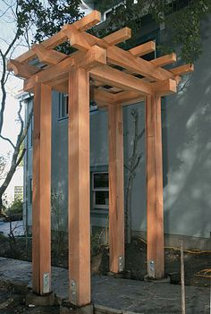 Build a Craftsman-style Pergola - Fine Homebuilding Article (backyard hammock hot tubs) Pergola Patio, Backyard Hammock, Small Pergola, Pergola Canopy, Pergola Swing, Pergola Attached To House, Metal Pergola, Pergola With Roof, Cheap Pergola