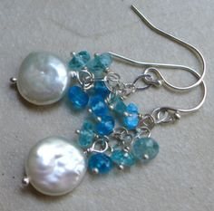 Blue gemstone pearl sterling silver earrings by BethanyRoseDesigns