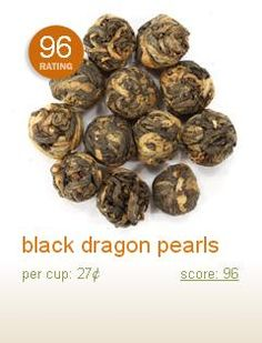 Black dragon pearls, from Adagio. A delicious black tea to have with milk and sugar.