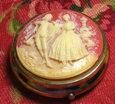 Vintage Pill Box Trinket Box Cameo Couple Cream On Dark Peach Hinged