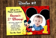 mickey mouse invitations | Mickey Mouse Baby First Birthday Party Photo Invitations - Printable