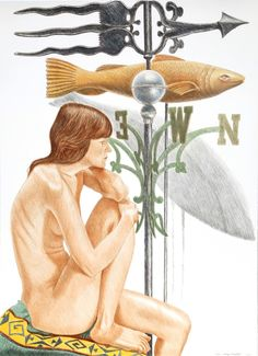 Philip Pearlstein, Nude Model with Banner and Fish Weathervanes, 2010, Heritage Auctions: Holiday Prints & Multiples Sale