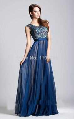 Free shipping Elegant High Beading Blue Prom dress 2014 Beach Floor Length Evening Gowns 2014 New Style $139.00
