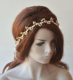 Gold Wedding hair vine, Crystals and Pearl, Bridal Rhinestones Headband, Pearl Halo Headpiece, Hair