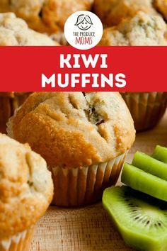 Kiwi Muffins Recipe | Make-Ahead Breakfast Idea - The Produce Mom Kiwi Recipes, Dessert Recipes, Desserts, Make Ahead Meals, Make Ahead Breakfast, Sweet Breakfast, Baking Power, Homemade Muffins, Postres
