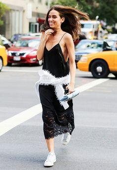 look black slip dress sneakers street style