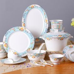 High quality 50pcs household ceramic tableware set Bone china dishes suit European dinnerware use in microwave Creative Gift #Affiliate