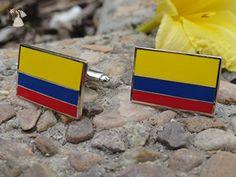 Colombia Flag Cufflinks - Groom cufflinks and tie clips (*Amazon Partner-Link)