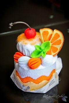 orange cream felt cake from DIY template by mint purple studio