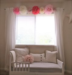 Love the pom poms on curtain rod! Whimsical Pom-Pom Collection - Your Choice of Colors - 8 Pom Poms - Room Decorations, Nursery, Childrens Room, Birthday, Baby Shower Big Girl Bedrooms, Little Girl Rooms, Girls Bedroom, Bedroom Decor, Nursery Curtains Girl, Curtains Childrens Room, Bedroom Ideas, Childrens Beds, Toddler Rooms