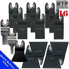 MTP TM 16 Japan Fine Wood Blade Quick Release Universal Fit Multi Tool Oscillating Multitool Saw Blade for Craftsman 20v Bolt-on Mm20 Rockwell Hyperlock Shopseies Fein Multimaster Porter Cable Black and Decker Bosch Milwaukee Makita Chicago Blue Hawk. 16 pc blades set (bi-metal , fine , course ), Manufacture By MTP. Fit Most Quick Release system as well as old Hex Screw system. fit in Porter Cable, Rockwell Hyperlock, Bosch , Black and decker, Craftsman Bolt-on 20V. Please check product...