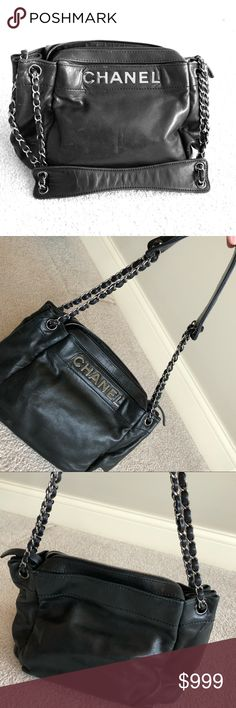 Chanel Designer Handbag Black Authentic Leather If this handbag were sold today it would value at $3,600-$5000. It is previously owned and rarely used. Very well taken care of and in very good condition. The leather is soft and forgiving. Looks almost new. Included is the Chanel cloth bag and card of authenticity. Everything that was originally purchased with the bag is included. Beautiful statement piece with large metal CHANEL label on magnetic opening. If you have any questions feel free…