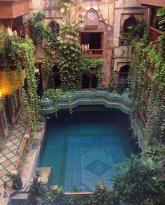 Pool gains constant shade by going under the house. An independent pool in the courtyard. Also love the tile idea in the pool. Interior Exterior, Interior Architecture, Morrocan Architecture, Garden Architecture, Interior Design, Greece Architecture, Mediterranean Architecture, Colonial Architecture, Beautiful Architecture
