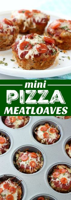 Mini Pizza Meatloaves are a fun twist on traditional meatloaf! They're made pizza style and come in at under 150 calories each thanks to ground turkey! Meatloaf Recipes, Beef Recipes, Pizza Recipes, Recipies, Pizza Meatloaf Recipe, Mini Meatloaf Muffins, Turkey Pizza, Turkey Food, Turkey Meatloaf