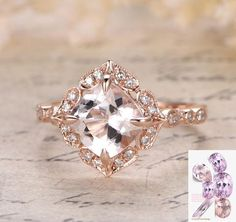 Limited Time Sale Antique carat Morganite and Diamond Engagement Ring in Rose Gold for Women Image 1 of 2 Morganite Engagement, Rose Gold Engagement Ring, Diamond Wedding Rings, Wedding Engagement, Diamond Rings, Oval Engagement, Antique Engagement Rings, Diamond Jewellery, Halo Diamond