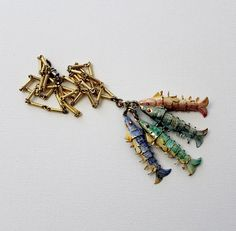 Vintage Articulated Fish Pendant Charm Necklace - Gone Fishin' Catch of the Day Enameled Fish Charms by Suite22 on Etsy