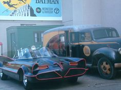 The Batmobile on the backlot of 20th Century Fox Studios while Batman was being filmed in 1966.