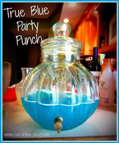 2liter of Sprite or 7-up, 64oz of Light White grape juice, 1 gallon of Berry Blue Typhoon Hawaiian Punch, to make this for adults I added 1.75 liter of Malibu. (If you can't find the Hawaiian punch gallon in your area you can use the box of singles pouches to go. It comes in a pack of 8, but use 7 to 1 gallon of water.) This makes 3 gallon drink dispenser. 4th of July punch!