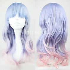 Loveeee Blue and Pink Mixed Color 55cm Sweet Lolita Wave Wig