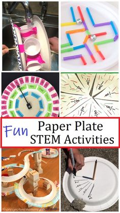 These fun paper plate STEM activities are an inexpensive way to keep kids engaged while having fun and learning.  #STEMactivities #STEMchallenges #STEMforkids Preschool Science Activities, Easy Science Experiments, Educational Activities For Kids, Science For Kids, Science Projects, Life Science, Summer Activities, Toddler Activities, Force And Motion