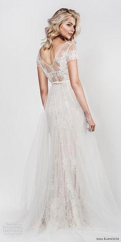 aida kapociute 2017 bridal illusion short sleeves bateau neck sheer lace bodice sheath a line overskirt (14) bv -- Aida Kapociute 2017 Wedding Dresses