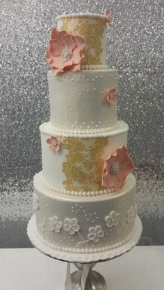 Gold shimmer,  peach and edible gold wedding cake by Corr's Cakes