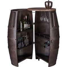 80 Bottle Iron & Wood Barrel Bar Wine Rack Cabinet | Buy Wine Racks & Holders