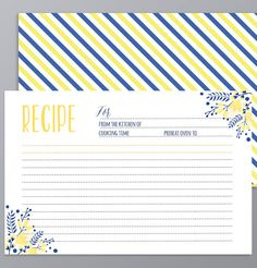 3x5 recipe card template free ms word template at home details the recipe card in navy blue and yellow forumfinder Images