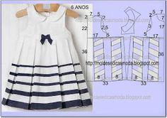 moldes de moda para la Medida del vestido del niño: 6 AÑOS - 4