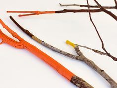 DIY Thanksgiving Table Decorations - Painted Twigs
