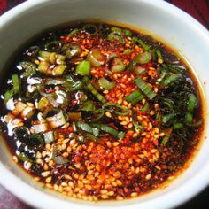 Korean Dipping Sauce made with soy sauce, sesame oil, sesame seeds, gochugaru and sliced scallions. Vegetarian Cookbook, Vegetarian Recipes, Cooking Recipes, Healthy Recipes, Guam Recipes, Fruit Recipes, Cooking Tips, Healthy Food, Korean Dipping Sauce Recipe