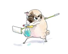 Deep Clean Pug Art Print - Funny Home Decor for Cleaning Day, Pug Art for Chore Chart by Inkpug by Inkpug on Etsy https://www.etsy.com/listing/256295728/deep-clean-pug-art-print-funny-home
