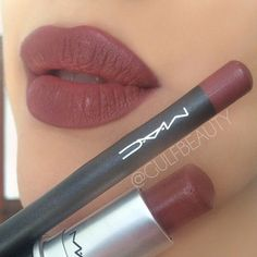My all time favorite brownish maroon lip combo: Mac Half-Red lipliner + Mac Verve lipstick
