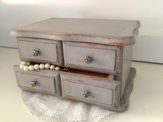 Your place to buy and sell all things handmade Painted Jewelry Boxes, Painted Boxes, Etsy Vintage, Vintage Shops, Vintage Items, Warm Grey, Milk Paint, Painting Furniture, Trays