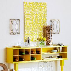 Looking for an inexpensive way to spruce up a bare wall? How about something like this stenciled Wall Art idea? I love the bright yellow!