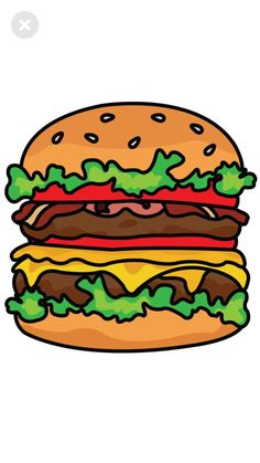 How to Draw a Burger step 5 Painting For Kids, Drawing For Kids, Art For Kids, Painting Art, Drawing Ideas, Chalk Drawings, Easy Drawings, Hamburger Drawing, Burger Cartoon